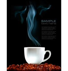 Background with cup of coffee and coffee grains vector image