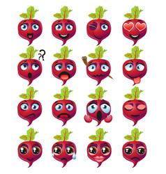 beetroot emoji emoticon expression funny cute vector image