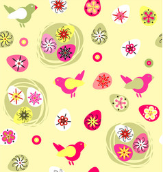 birds with easter eggs and nest vector image