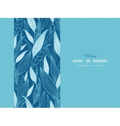 Blue Bamboo Leaves Horizontal Seamless Pattern vector image