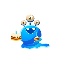Blue Three-Eyed Toy Monster With Full Birthday vector