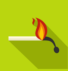 Burning match icon flat style vector