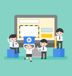 Business people helping manage website on laptop vector