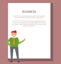 business poster with businessman in green sweater vector image