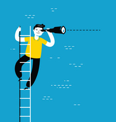 Businessman with spyglass standing on ladder vector