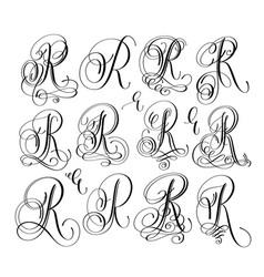 Calligraphy lettering script font r set hand vector