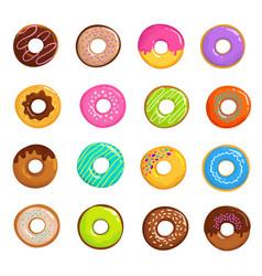 cartoon glazed sweet donut isolated set vector image