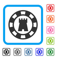 Castle casino chip framed icon vector