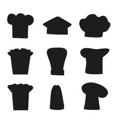 chef hats outline sketches set black chef hat vector image