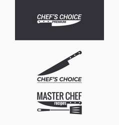 chef knife logo set on black and white background vector image