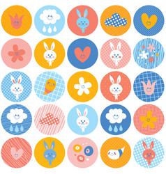 circles pattern baby bunnies flowers clouds vector image