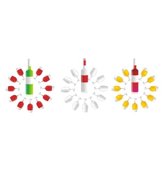 Circular wine bottles and glasses vector