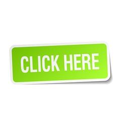Click here green square sticker on white vector