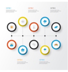 Climate flat icons set collection of windy storm vector
