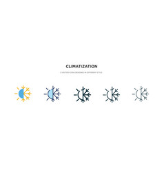 Climatization icon in different style two vector