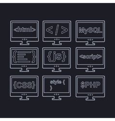 Collection web development icons - html css tag vector
