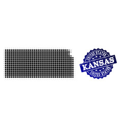 Composition of halftone dotted map of kansas state vector