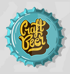 craft beer script lettering logo with top view vector image