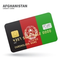 Credit card with Afghanistan flag background for vector