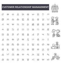 customer relationship management line icons signs vector image