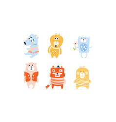 Cute bears collection adorable animals colorful vector