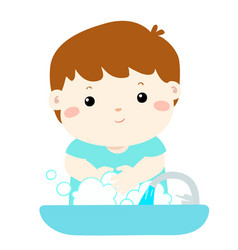 Cute boy washing hands in washbasin vector