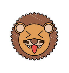 Cute lion drawing animal vector