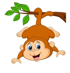 Cute monkey cartoon hanging on a tree branch vector image