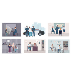 different situations in police station colorful vector image