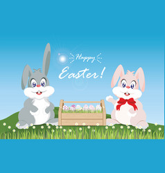 easter eggs and easter bunny for decoration on vector image