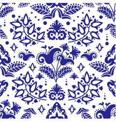 ethnic tatar blue ornament seamless pattern vector image