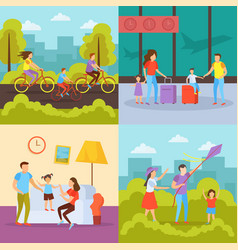 family activities orthogonal concept vector image