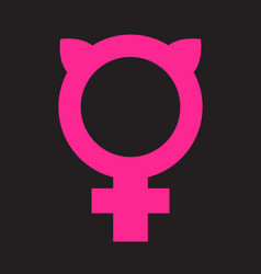 female symbol combined with pussy ears vector image