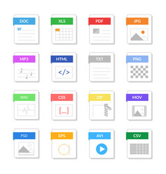 file type signs color icons set vector image