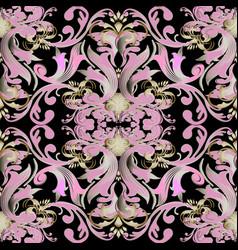 floral baroque damask seamless pattern vintage vector image