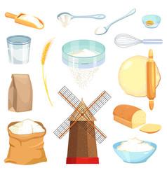 Flour cartoon set icon vector