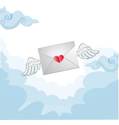 flying love letter with white angel wings in the vector image