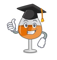 Graduation cognac ballon glass character cartoon vector