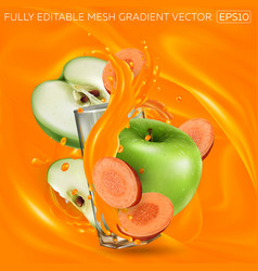 Green apples and carrots and a glass vector