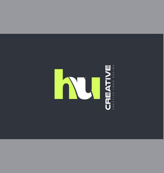 Green letter hu h u combination logo icon company vector