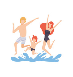 Happy family having fun on beach mother father vector
