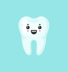Healthy tooth with emotional face cute colorful vector