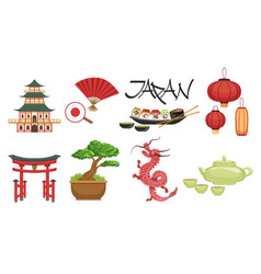 Japanese culture symbols set vector