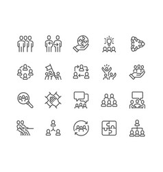 Line team work icons vector
