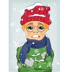 Little boy freezing in winter cold vector