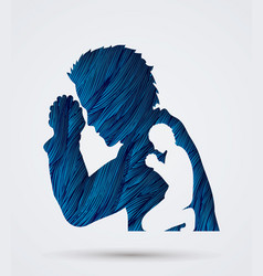 Man prayer double exposure graphic vector