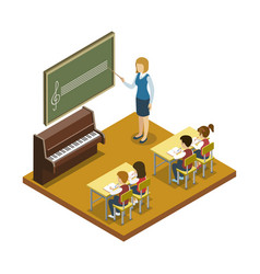 Music lesson at school isometric icon vector