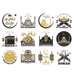 muslim religion and islam arabic culture signs vector image