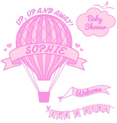 New baby girl with hot air balloon vector