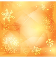 Orange christmas background with white snowflakes vector